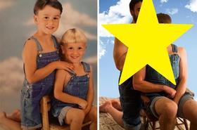 Po wielu latach odtwarzają swoje zdjęcia z dzieciństwa - co za kreatywność!