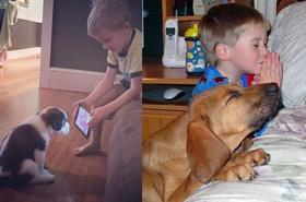 Domowe psy i koty, jako najlepsi przyjaciele dziecka – 14 niesamowitych zdjęć