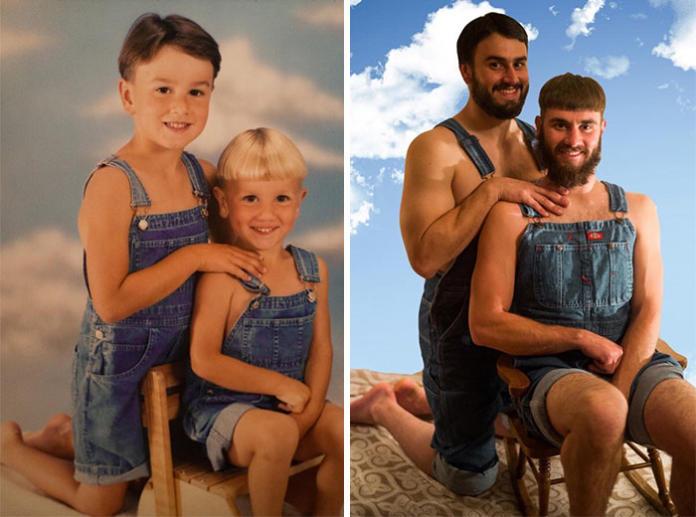 """Te """"duże dzieci"""" perfekcyjnie odwzorowały zdjęcia z przeszłości. EFEKT? Zobaczcie!"""