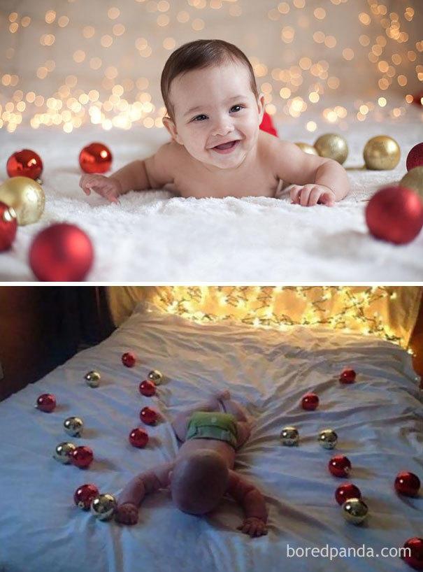 Rodzice odtwarzają zdjęcia świąteczne z profesjonalnych sesji. Duża dawka uśmiechu!