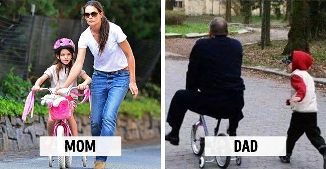 Matki vs. ojcowie - 10 zdjęć, które pokazują różnice w ich podejściu do wychowywania dziecka. Wygląda znajomo?